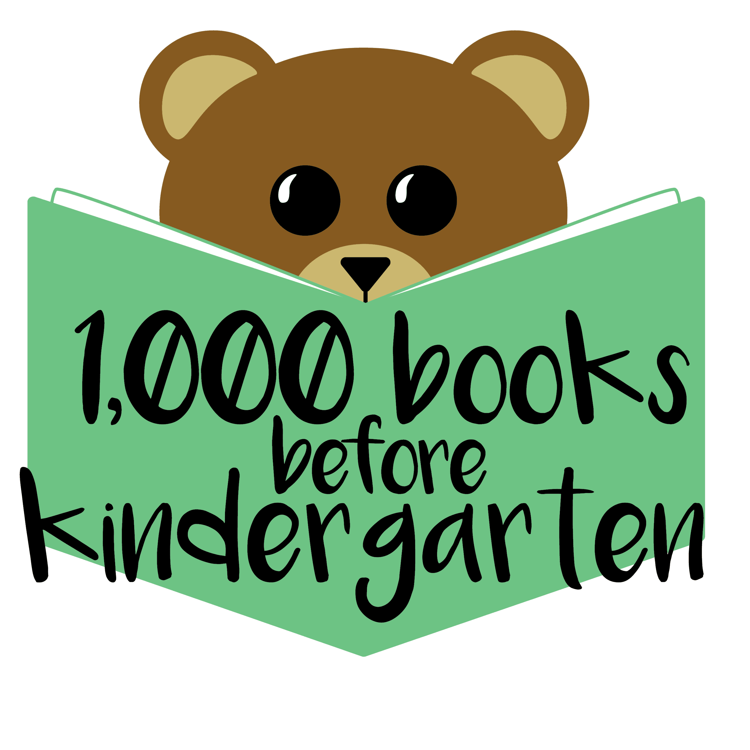 1000Books Logo - Bear with Green Book  Opens in new window