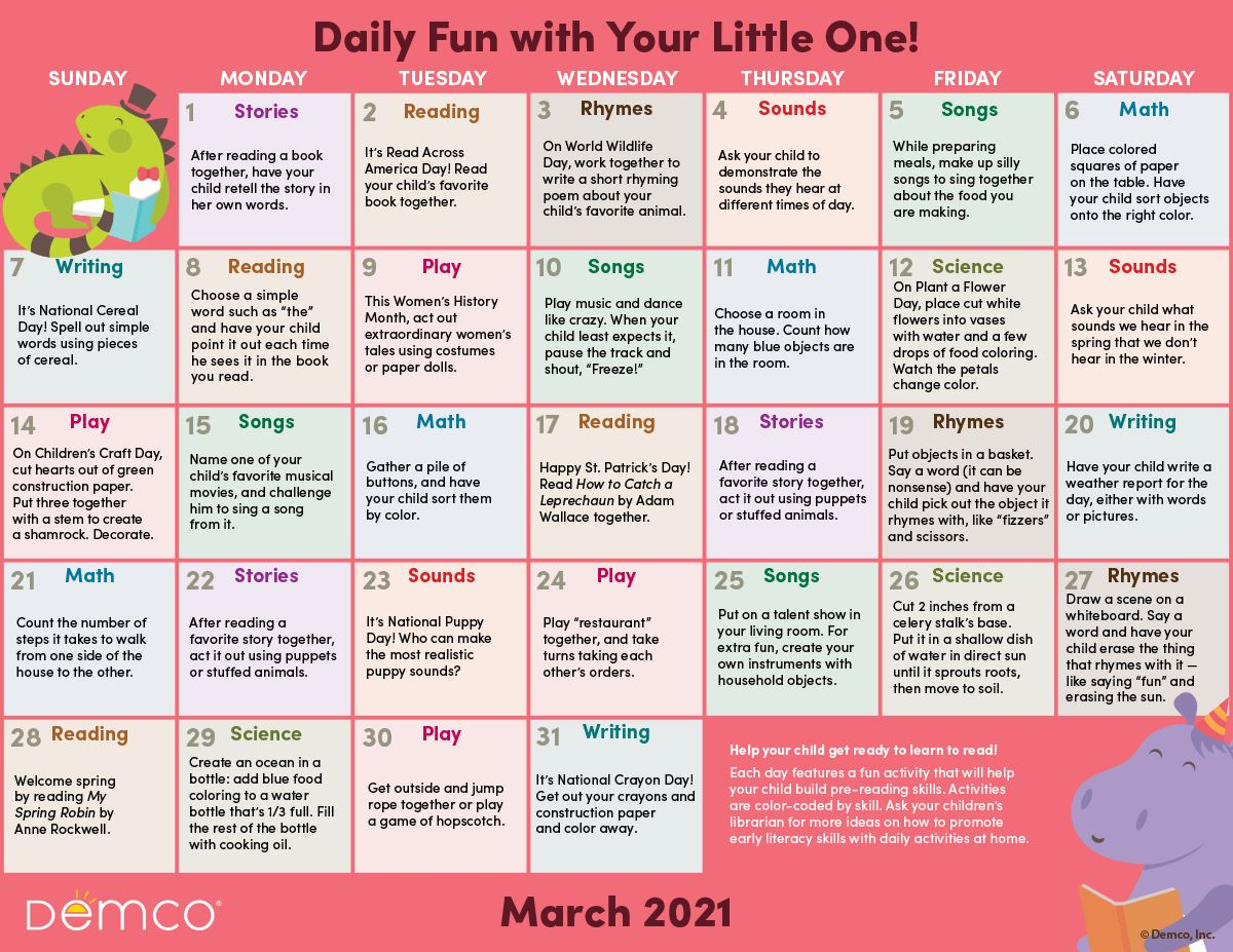 March Early Literacy Activity Calendar
